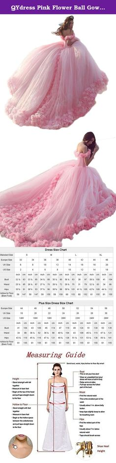 QYdress Pink Flower Ball Gowns Wedding Dresses Slit Neckline Cloud Dress (US 10, custom). Custom dress please send your girls measurements to me like this: 1.Full Bust =___inches 2.Waist =___inches 3.Hips =___inches 4.waist to the floor ___inches 5.Shoulder to floor = __inches 6.Height(no shoes)___inches 7.Shoulder to Shoulder___inches.