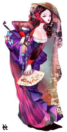 anime Kisaeng at DuckDuckGo Female Character Design, Character Creation, Character Design Inspiration, Character Concept, Character Art, Concept Art, Chica Anime Manga, Anime Art, Geisha