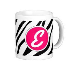 Zebra Monograms Basic White Mug