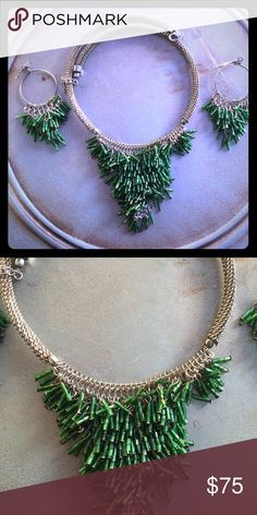 Vintage Boho Choker & Earring Set So pretty. Cluster Choker of rock green glass beads with matching earrings.  First pic really highlights the beauty of color. Purchased from a boutique in England that specializes in vintage finds. Vintage Jewelry Necklaces