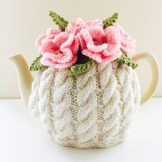 Floral Cabled Tea Cosy in Pure Wool - Ivory & Pink - Size Medium - fits 6-cup teapots