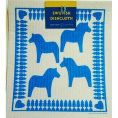 Swedish Dishcloth - Dala Horse Blue (206B)