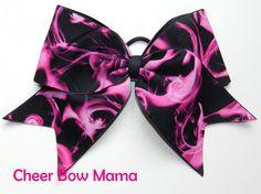 Pink Flames Cheer Bow by Cheer Bow Mama