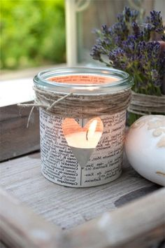 Simple and beautiful DIY gift for Day. An old glass, an old book .Simple and beautiful DIY gift for Day. An old glass, an old book page and some parcel tape and this Diy Candles, Candle Jars, Mason Jars, Crafts To Sell, Diy And Crafts, Crafts For Kids, Upcycled Crafts, Diy Gifts For Mothers, Mother Day Gifts