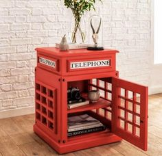 This Telephone Box Side Table in red is a new addition to our range of modern & contemporary furniture a unique side table unlike any other House Furniture Design, Diy Furniture Projects, Home Furniture, House Design, London Telephone Booth, London Phone Booth, British Decor, Home Interior, Interior Design
