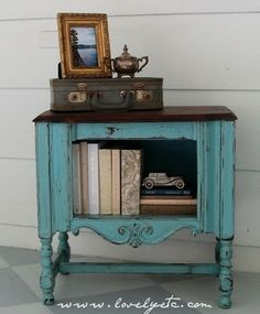 Turquiose paint and dark stained top, love!
