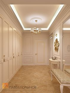 """Photo design of the hall from the project """"Interior design of a four-room apartment in a classic style, 204 sq. Home Ceiling, Ceiling Decor, Ceiling Design, Dining Area Design, Living Room Decor, Bedroom Decor, Four Rooms, Home Bar Designs, French Style Homes"""