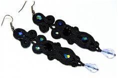 Soutache long black earrings
