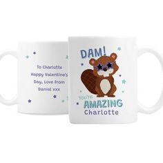Personalised Ceramic Mug - Dam You're Amazing Happy Valentines Day, Valentine Day Gifts, You're Awesome, Amazing, Personalized Valentine's Day Gifts, Animal Mugs, Messages, Ceramics, Hand Washing