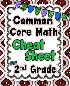 *FREEBIE* ALL 2nd Grade Common Core Math standards listed on 1 PAGE! #commoncore #2ndgrade #commoncoremath