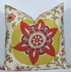 Designer Suzani pillow cover 20x20 BOTH SIDES throw by WilmaLong, $50.00