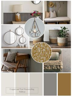 """In this mood board I've created a Farrow and Ball palette of neutrals with an ochre accent for a contemporary hallway. I love the mix of greys with a """"pop"""" of colour creating a warm welcome and very practical scheme. Hallway Colour Schemes, Interior Design Color Schemes, Warm Color Schemes, Hallway Colours, Living Room Color Schemes, Bedroom Colour Schemes Neutral, Mood Board Interior, Interior Design Boards, Room Interior"""