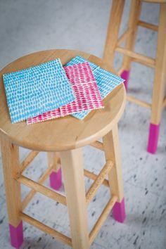 #DIY color-dipped stool legs. #designeveryday