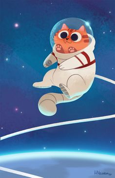 """508: Space Cat 2.0 I""""m a bit tuckered out with the convention prep, so for today's post here is the updated space cat I've made to sell at Rose City! This was the old one. Needed to give it a bit more light :)"""