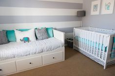 Project Nursery - Gray and White Striped Accent Wall for the Nursery - Baby Nursery Today Baby Bedroom, Baby Boy Rooms, Baby Boy Nurseries, Girls Bedroom, Modern Nurseries, Nursery Twins, Nursery Room, Nursery Gray, Nursery Daybed