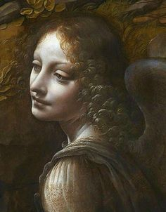 """Leonardo da Vinci, """"Virgin of the Rocks"""" (National Gallery London version), angel detail.  She (I think """"she""""! guess it could just as likely be a man in a painting from this era) has a rather fascinating face.  Not exactly pretty--but very interesting."""