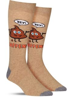 """These funny men's crew socks feature a poop emoji in place of the swear word in the famous phrase, """"Hey, sh*t happens. Funky Socks, Crazy Socks, Cool Socks, Men's Socks, Awesome Socks, Sloth Socks, Famous Phrases, Crazy Man, Male Feet"""
