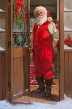 Tom Browning, Happy Host, oil, 36 x - Southwest Art Magazine Christmas Note, Christmas And New Year, Father Christmas, Christmas Stuff, Santa Canvas, Holiday Canvas, Holiday Train, Original Paintings For Sale, Santa Suits
