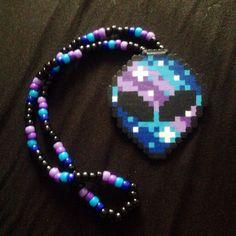 Galaxy Alien Kandi Necklace by KristynsKandi on Etsy