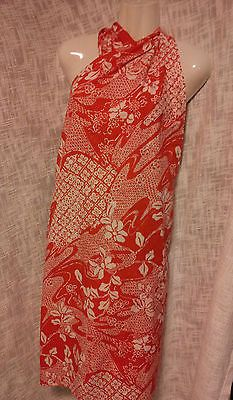Vtg Hilo Hattie Pareo Hawaiian Swimsuit Skirt Wrap Cover-Up Sarong Red Floral
