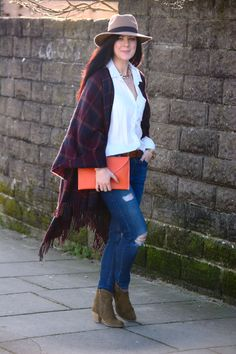 Rachel the Hat: Blanket wrap casually styled with jeans and a blouse