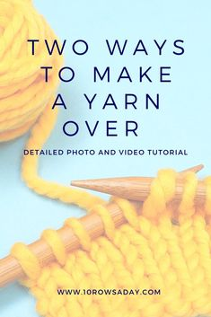 Regular and Reverse Yarn Over - The Easiest Way to Increase Stitches in Knitting | 10 rows a day Lace Knitting, Knitting Stitches, Knitting Patterns, Easy Knitting Projects, Knitting For Beginners, Simply Knitting, Learn How To Knit, Yarn Over, Hacks