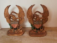 American Eagle Bookends Cast Iron by Pascalene on Etsy, $55.00