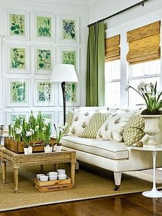 Like This Look For White Walls ~ Botanical Prints, Green Curtains, Bamboo  Shades, Jute Rug. Earthy And Serene. Cottage Living RoomsLiving ...