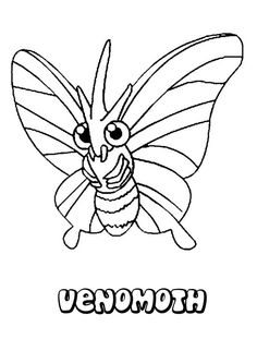 Venomoth Pokemon coloring page. This Venomoth Pokemon coloring page is available for free in BUG POKEMON coloring pages. You can print it out or color . Star Coloring Pages, Horse Coloring Pages, Coloring Books, Pokemon Coloring Sheets, Pokemon Sketch, Wine Parties, Easy Drawings, Painting & Drawing, Pikachu