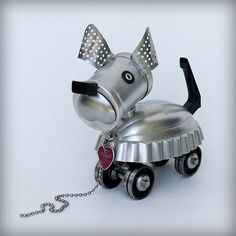 Robot Dog recycled art by leuckit on Etsy