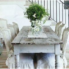 paint brown rattan chairs white, distress and slipcover to go with barn wood table?