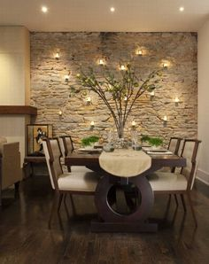 Accent Wall-love the lights in the stone