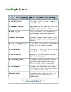 While searching through different articles this interesting chart/short paragraph about 10 thinking traps that leaders can fall into popped up. I found it very and interesting and it makes some very valid points about what leaders should look out for. (3230)