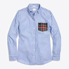 Oxford with Plaid Pocket