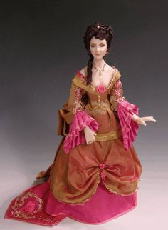 Victorian Lady in rose and gold- dollhouse miniatures
