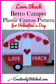 Love Shack Retro Camper Plastic Canvas Pattern for Valentines Day - Creatively Stitched - Crafts Diy Crafts To Sell, Fun Crafts, Crafts For Kids, Paper Crafts, Kids Diy, Sell Diy, Decor Crafts, Ocean Crafts, Amazing Crafts