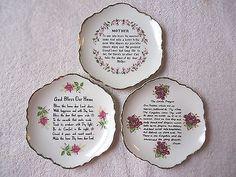 "Vintage Set Of 3 Hanging Collector Plates "" BEAUTIFUL COLLECTIBLE SET "" #vintage #collectibles #ceramics #kitchen #home"