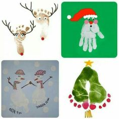 Kids Hand Print Foot Crafts For Christmas And Winter