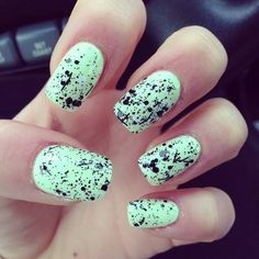 Mint green with black splatter nails. almost a perfect match to my shoes which is perfection going to get them professionally done a few days prior to his arrival