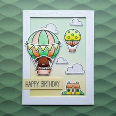 """A birthday card made with the """"Up in the Air"""" stamp set from """"My Favorite Things""""."""