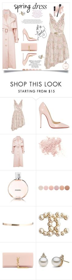 """spring dress"" by lisamichele-cdxci ❤ liked on Polyvore featuring Elizabeth and James, Christian Louboutin, Vika Gazinskaya, Bare Escentuals, TC Fine Intimates, Chanel, Deborah Lippmann, ASOS, Yves Saint Laurent and NARS Cosmetics"