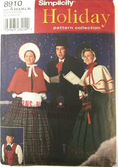 Simplicity 8910 Sewing Pattern Victorian Christmas Carolers Adult XS to XL 1999 #Simplicity