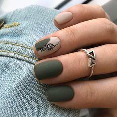 Dark Color Nails, Dark Green Nails, Green Nail Art, Dark Nail Art, Nude Color, Purple Nails, Chic Nails, Stylish Nails, Green Nail Designs