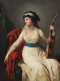 Portrait 'Tina' Gräfin of Brühl. - Anton Graff en reproducción impresa o copia al óleo sobre lienzo. Anton, Dresden, 18th Century Costume, Graf, Guitar Painting, Turbans, European Paintings, Regency Era, Historical Clothing