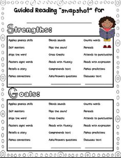 Great form to share with parents about guided reading strengths and goals (instead of weaknesses)