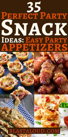 35 Tasty and creative party snack ideas and party appetizers to feed a crowd. Easy bite sized party snacks from sweet to savoury and meaty to meatless these party finger foods are sure to be a crowd pleaser! Bite Size Appetizers, Finger Food Appetizers, Healthy Appetizers, Appetizers For Party, Appetizer Recipes, Party Finger Foods, Snacks Für Party, Gluten Free Puff Pastry, Savory Snacks