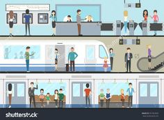 Subway interior set with train, enter and inside the railway. Landscape Background, Game Concept, Train, Illustrations, Signage, Transportation, Images, Photos, Public