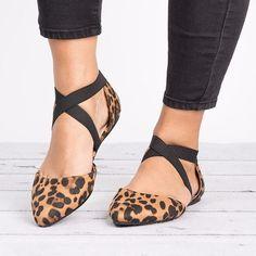 Leopard Criss Cross Ballerina Flats