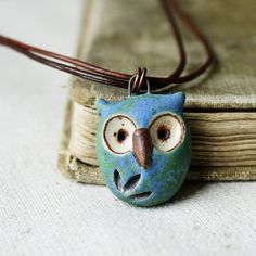 hoot owl- simple handmade ceramic necklace- blue earth