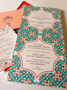 Indian weddings are full of colors and different patterns. Their wedding cards have delicate work on them. Love the color combination
